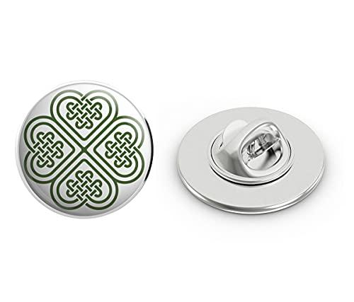 BRK Studio Celtic Knot Four Leaf Clover Round Metal 0.75' Lapel Pin Hat Shirt Pin Tie Tack Pinback