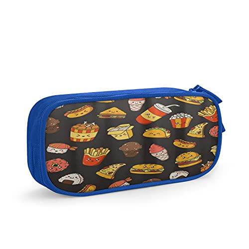 CIKYOWAY Pencil Case Stifte Beutel Tasche Cartoon Comic Doodle Junk Food, Make-up Box Stilvolle Studentenboxen Bürotasche Stationäre Tasche Kosmetiktasche