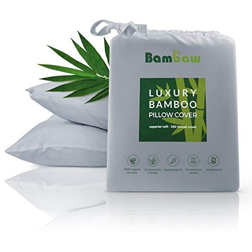 Bambaw Bambus Kissenbezüge | Pillow Cover | Bambus Kissen Bezüge | Temperaturregulierend | Anti Allergie Kissenbezug | Atmungsaktiver Stoff | Grau | 40x80