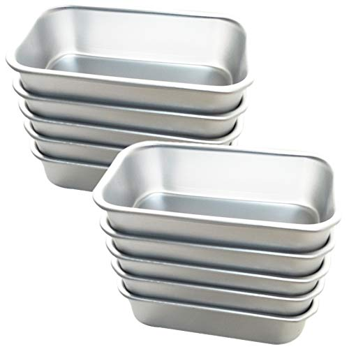 Lesai Backform/Muffinform,10 Stück Backform Eckig für Muffins, Cupcakes, Kuchen, Pudding,Aluminium 11.5 * 6.5 * 3.5cm