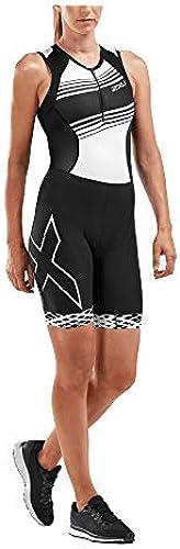 2XU Compression Combinaison de Triathlon Femme, noir noir blanc Lines