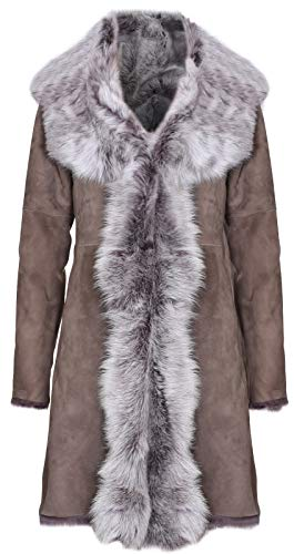 Infnity Leather Damen Taupe Damen Echt Toscana Schaffell Leder Wildleder Jacke Trenchcoat 2XL