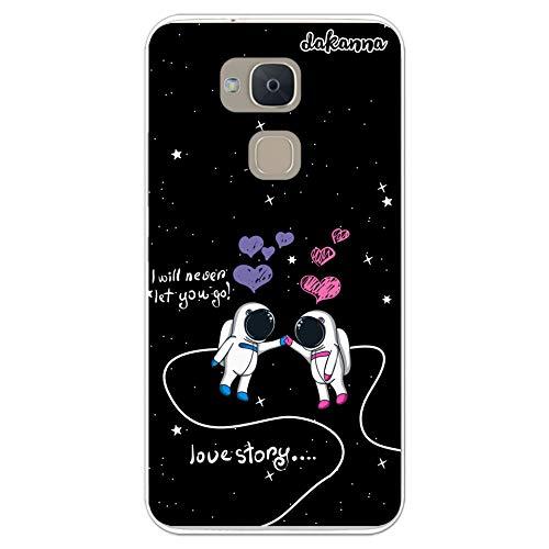 dakanna Funda para BQ Aquaris V Plus - VS Plus | Astronautas Frase Amor: Love Story | Carcasa de Gel Silicona Flexible Transparente