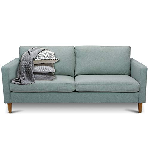 Giantex Modern Upholstered Accent Sofa, Fabric Futon Sofa Bed, Loveseat Couch w/Wood Leg and Armrest, Removable Cover, Leisure Lounger for Home Office Living Room (Light Gray)