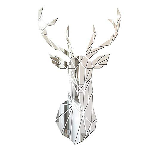 3D Mirror Deer Wandaufkleber Home Decor, Acryl Spiegel-Wandaufkleber Spiegelfliesen Wandspiegel DIY Selbstklebend für Schlafzimmer Wohnzimmer