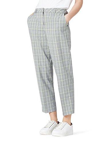 Marca Amazon - find. Pantalones de Cuadros Mujer, Azul (Blue Mix), 38, Label: S