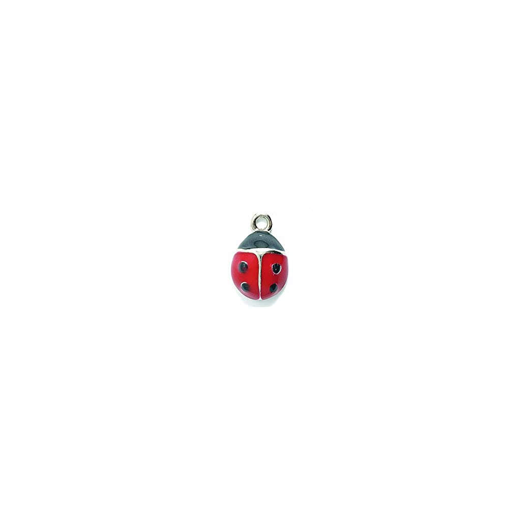 Shipwreck Beads Pewter Epoxy Ladybug Charm, Red and Black, 10 by 16mm, 2-Piece