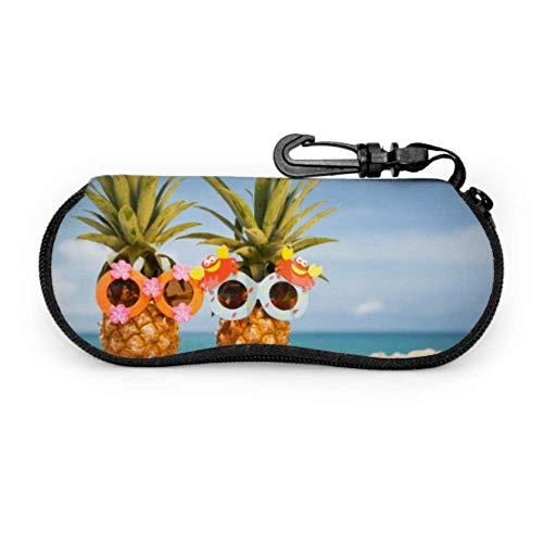 Funda para gafas con diseño de piña feliz para parejas con gestos divertidos, funda para gafas de sol de neopreno con cremallera suave