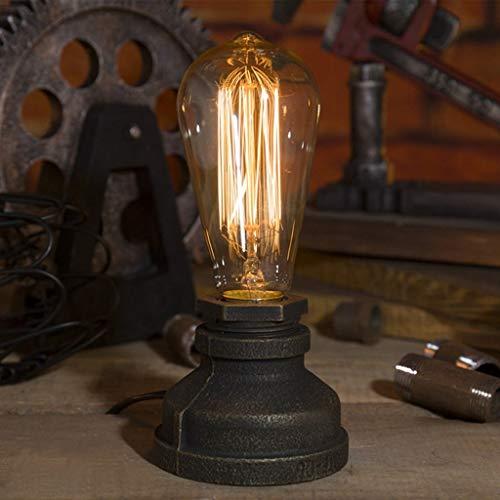 Lampe de table en fer Steampunk Lampe de bureau vintage E27 Lampes de table Base en fer Antique Table lumineuse