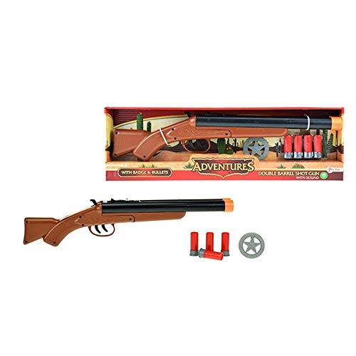 Toi-Toys Schrottflinte mit Patronen 16080A Waffe Pistole Western Fasching Freizeit Jungs