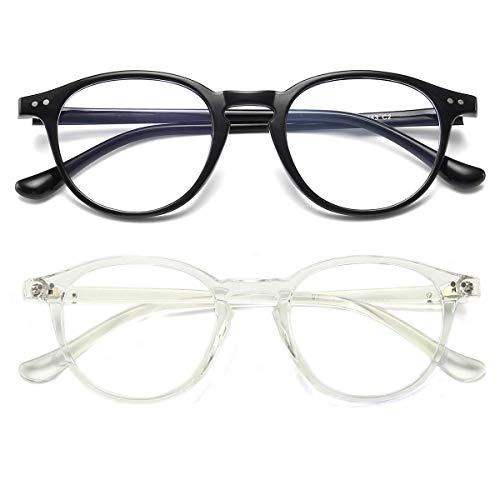 Gafas de computadora con filtro de luz azul, antifatiga ocular, estilo vintage, marco redondo, para mujeres y hombres Transparente y negro. 48