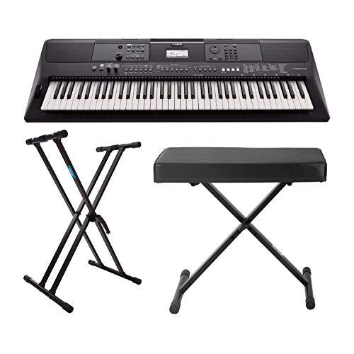 Yamaha PSREW410 teclado portátil de 76 teclas con adaptador de alimentación, Knox soporte de teclado doble X y banco