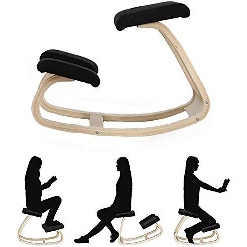 Home Ergonomic Kneeling Chair Home Office Furniture Wood Knee Chair Ergonomic Swing Balans Posture Correction for Man Woman Best Gift Black