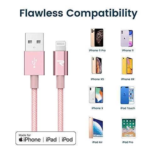 RAMPOW Lightning Kabel, [Apple MFi Zertifiziert], iPhone Ladekabel Kompatibel mit iPhone 12, iPhone 11, iPhone XS, iPhone XR, iPhone X, iPhone 8, iPhone 7, iPhone 6, iPad und mehr -2m Roségold