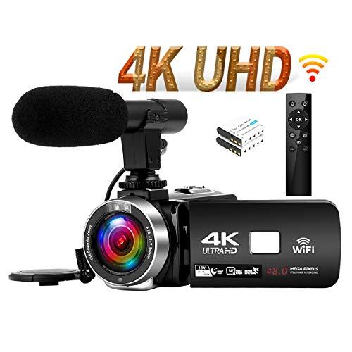 """Videocamara 4K 30FPS Cámara de Video 48MP WiFi Videocamara Vlogging con Pantalla Táctil de 3.0""""Cámara Visión Nocturna por Infrarrojos Micrófono Externo Time-Lapse"""
