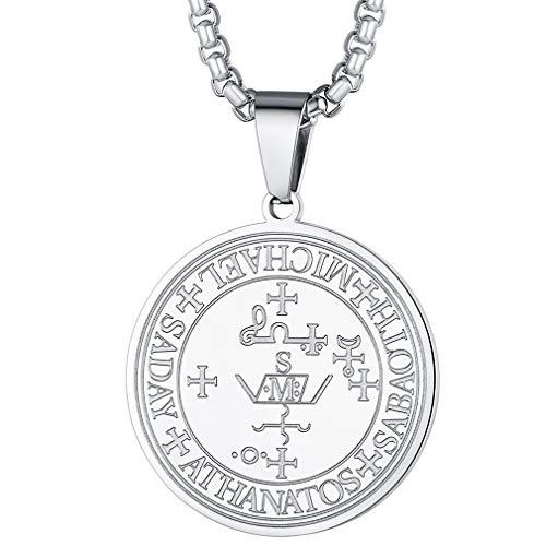 FaithHeart Símbolo Gótico Sello Angel Miguel Medalla Redonda para Hombres y Mujeres Acero Inoxidable Plateado