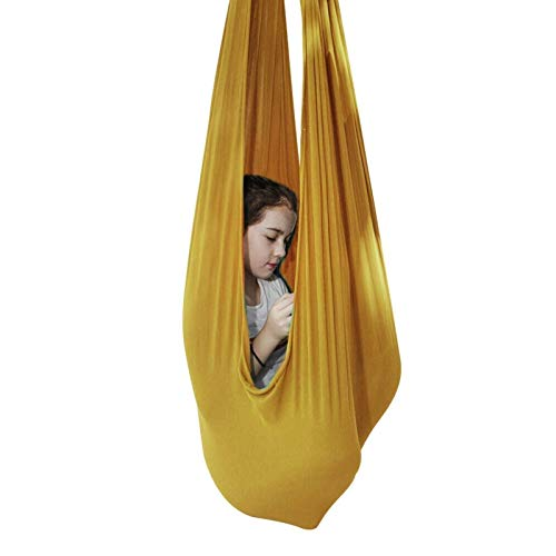 Therapy Columpio para Interiores Columpio sensorial para niños Hamaca de Malla Transpirable con Kit de Hamaca de Yoga de 200 kg para Autismo TDAH (Color: Dorado Tamaño: 100x280cm / 39x110in