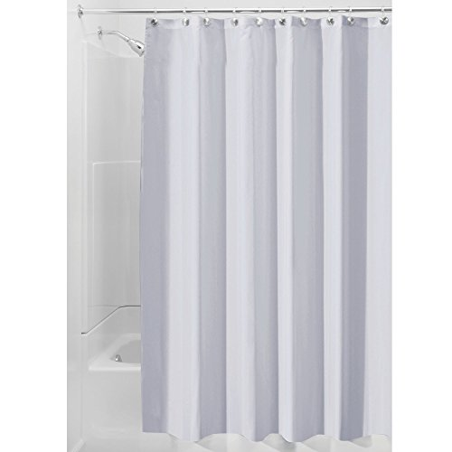 iDesign Duschvorhang aus Stoff   wasserdichter Duschvorhang mit verstärktem Saum   waschbarer Textil Duschvorhang in der Größe 183,0 cm x 183,0 cm   Polyester kornblumenblau