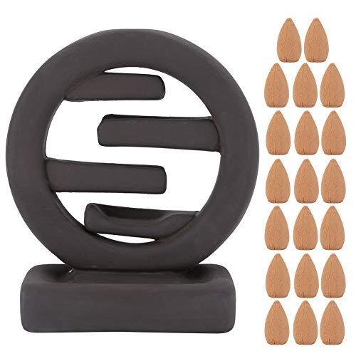 Soporte de Incienso - Adornos de Soporte de Incienso de reflujo de cerámica para Interiores con 20 Piezas de decoración de casa de té de Cono