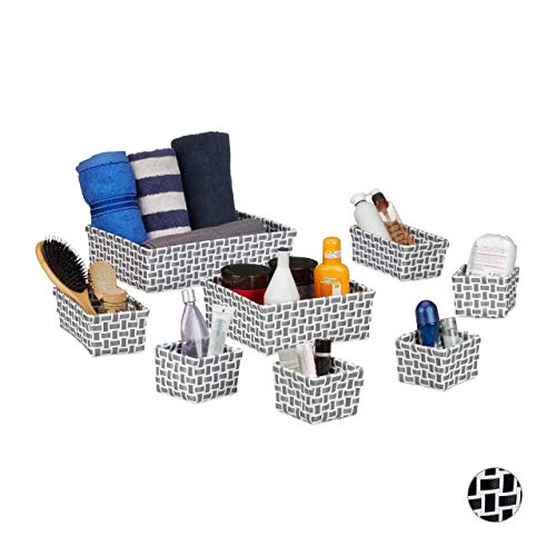 Relaxdays set de ocho cajas de almacenaje, aspecto trenzado, cestas, apilables, plásticos, blanco y gris.