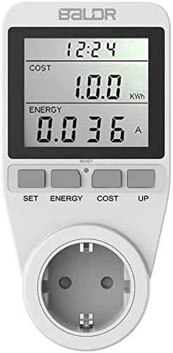 TEKFUN Strommessgerät 3680W, Hintergrundbeleuchtung Stromzähler Für Steckdose, Energiekostenmessgerät Mit Großem LCD-Bildschirm und Maximale Überlastsicherung, Stromzähler für Zuhause (Weiß)
