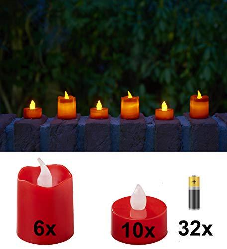 Bonetti LED Kerzen, 16 Stück flammenlose Teelichter mit warm-weißer Beleuchtung, realistische simulierte Flamme (Flackern), inkl. Ersatzbatterien (Kerzenfarbe: rot)
