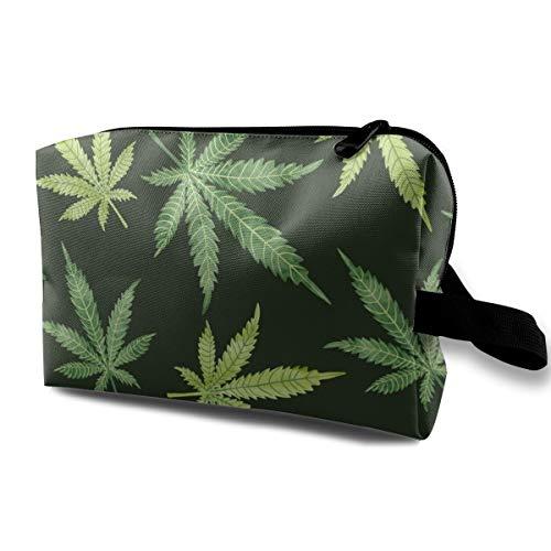 Estuche de cosméticos para mujer, Estuche de hojas de marihuana en acuarela sobre lápiz oscuro