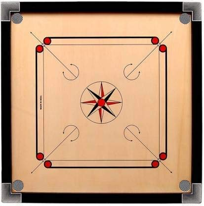 DSB Wooden Round Pocket Carrom Board with Coins, Striker and Carrom Powder (32 Inch)