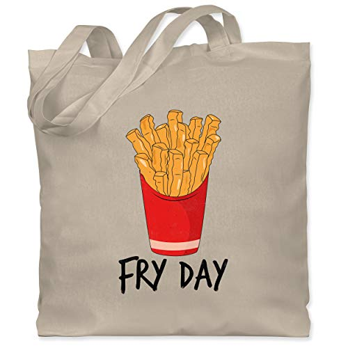 Shirtracer Statement - Fry Day - Pommes frites - Unisize - Naturweiß - Wochenende - WM101 - Stoffbeutel aus Baumwolle Jutebeutel lange Henkel