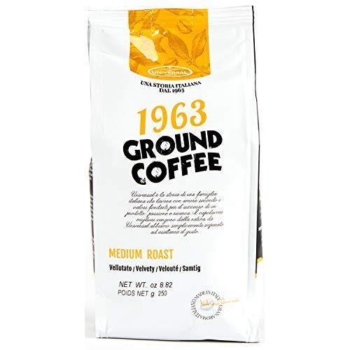Universal Caffè - Caffè Macinato per Caffè Americano/Filtro Ground Coffee 1963 In sacchetto con valvola Salvaroma (Caffè Medium Roast, 250 Gr.)