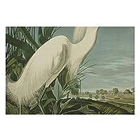 リネンプレースマット4個セットオーデュボンユキコサギホワイトダイサギ鳥ダイニング用滑り止めランチョンマットレストランテーブル農家結婚式屋外屋内