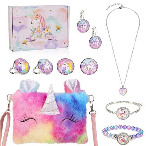 Peluche Unicornio Bolso Bandolera niña Joyas Set, Unicorn Collar Pulsera Pendientes Anillos Joyería Regalo, Artículos de Fiesta