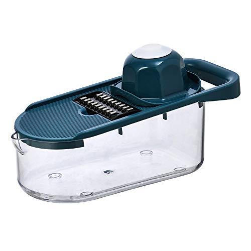 SXXYTCWL Vegetabilisk cutter ABS + PS 6 i 1 Manual Rotary Cutter Kök Special Rostfritt Stål Hand Shredder Lämplig för ost Vegetabilisk och fruktskivare rivare med handvakt (vit) (Color : Blue)