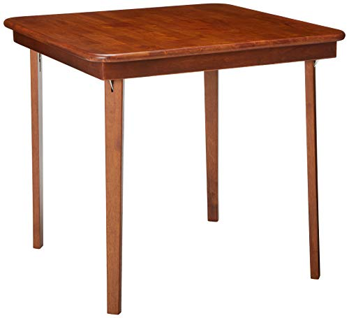"STAKMORE Straight Edge 32"" Square Folding Card Table, Cherry Finish"