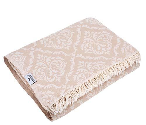Carenesse Tagesdecke King Size BAROCK beige, 260 x 260 cm, hochwertige leichte Doubleface Decke 100% Baumwolle Kurze Fransen, Wohndecke, Sofa-Überwurf, Bettüberwurf, Couchdecke, Bedspread, Plaid