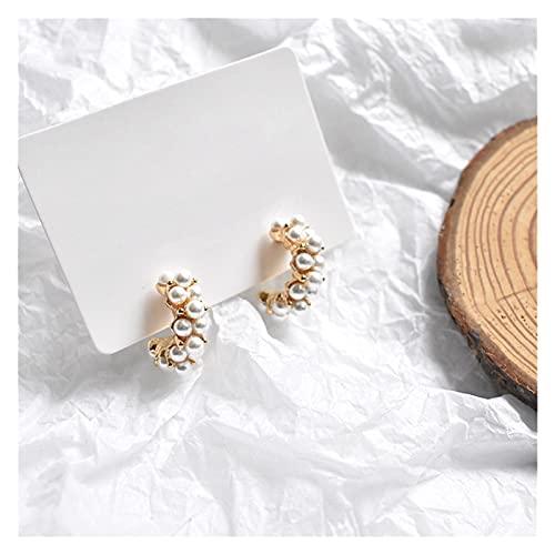 SHOYY 1 par de pendientes de aro de perlas para mujer, color dorado, redondos, aros semicirculares, pendientes de joyería de moda (color metálico: oro)