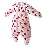 Happy Cherry - Mameluco Grueso de Dormir Acolchado de Algodón para Infantiles de Invierno Saco Dormido de Bebes con Pies Separadaos con Fresa para Niños de 3 años