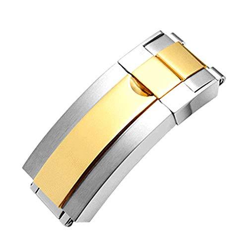 ROUHO 16Mm Cinturino Fibbia Cinturino in Acciaio Fibbia Accessori per Rolex Deepsea Polizia di Stato Daytona-Argento + Oro