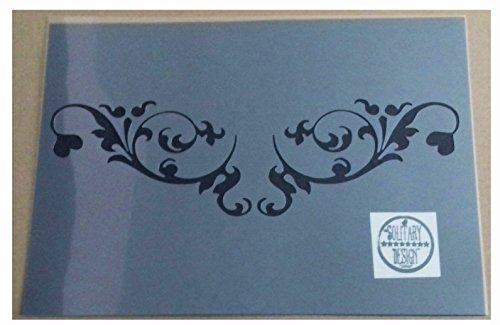 Solitarydesign Schablone, Kunststoff, Damast, schäbig schick, im französischen Stil, A4210x 297mm