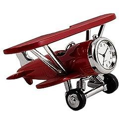 StealStreet SS-KD-3569, 4.2 Inch Biplane Clock Decoration Accurate Quartz-Burgundy, 4.2