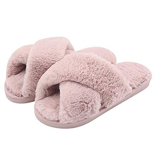 Fadezar Pantofole Peluche Donna Ciabatte da Casa Comode Invernali Moda Scarpe Sandali Slippers Rosa Dimensione dell'Etichetta 38/39 für EU 37/38
