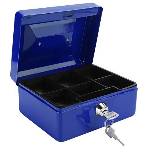 wxf Mini Caja De Dinero Portátil De 6 Pulgadas Caja De Seguridad con Cerradura para Dinero Caja De Seguridad con Cerradura De Llave Uso En La Oficina En Casa (Azul)