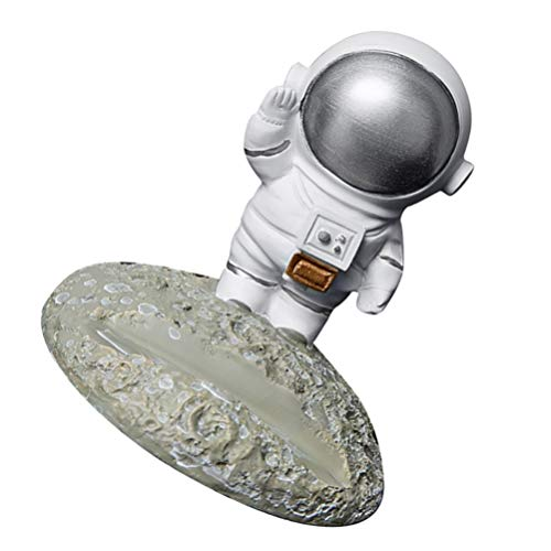 PRETYZOOM Estatua de astronauta para teléfono móvil, soporte para teléfono, resina, escultura, decoración de mesa, coche, salpicadero, ornamento para cumpleaños, año nuevo