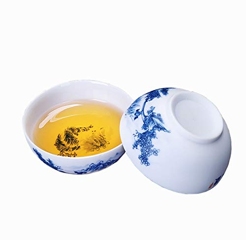Woonsoon Chinese Handmade Kungfu Tea Cup 2 oz/50 ml,Bone China Blue and White Tea Cups Set of 6,Ceramic Tea Mugs Without Handles,Best Gift