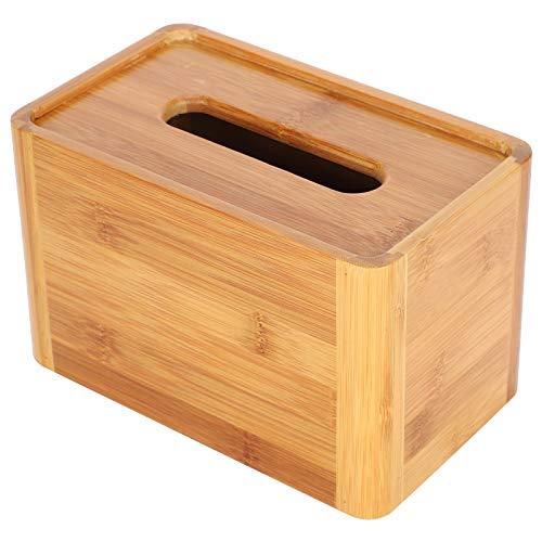 Caja de servilletas, caja de pañuelos de bambú segura resistente al desgaste, para baño de oficina