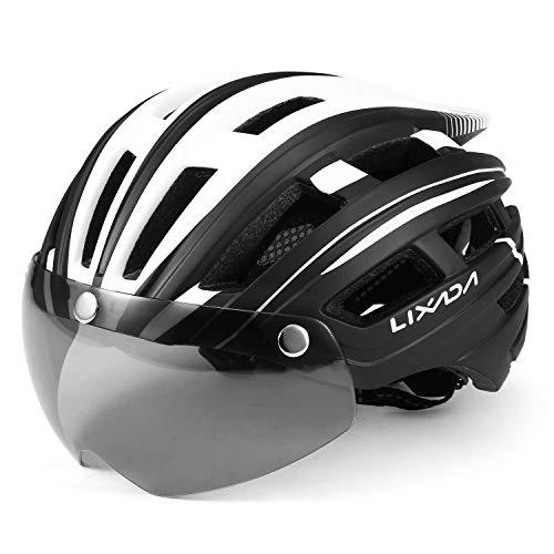 Lixada Mountain Bike Helmet Casco da Motociclismo con Luce Posteriore Staccabile Visiera Magnetica UV Protettiva (Nero Bianco)