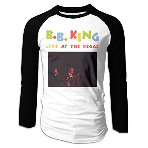 Herren Basketball Raglan mit BB King Live im Regal Langarm T-Shirts, XX-Large, Schwarz