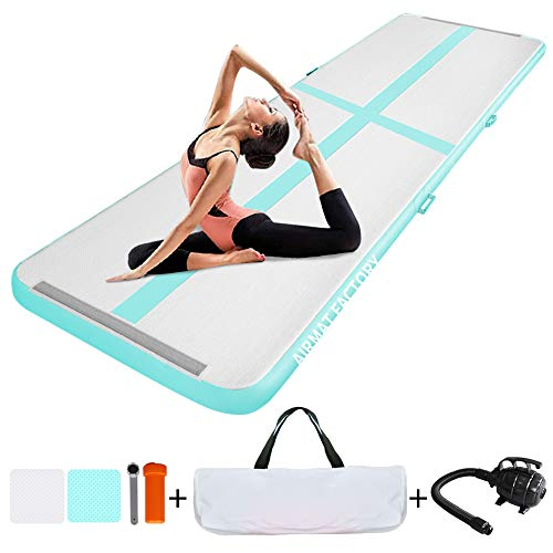 AIRMAT FACTORY/Ejia Air Track 10ft/13ft/20ft Inflatable Gymnastics Tumbling Mats 4in Thickness Airtrack with Gwind Electric Pump/Tokyo Championship/for Fitness,Schools, Home, Yoga Gym, Cheerleading