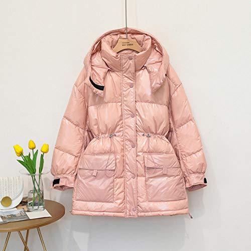 WEIYYY 2020 90%Chaqueta de plumón Abrigo Brillante de Invierno Ropa de Nieve para Mujer a Holgada de plumón Medio Largo para Mujer Oversize, Pink, S
