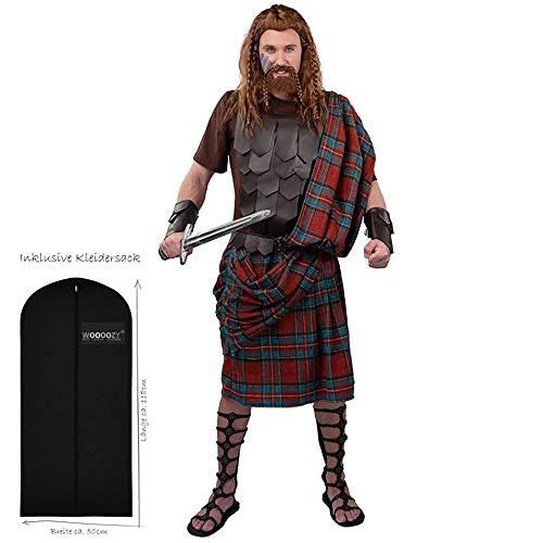 WOOOOZY Herren-Kostüm Highlander Deluxe, Gr. 50-52 - inklusive praktischem Kleidersack